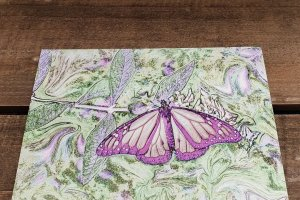 Pink Breeze Butterfly Art Postcard