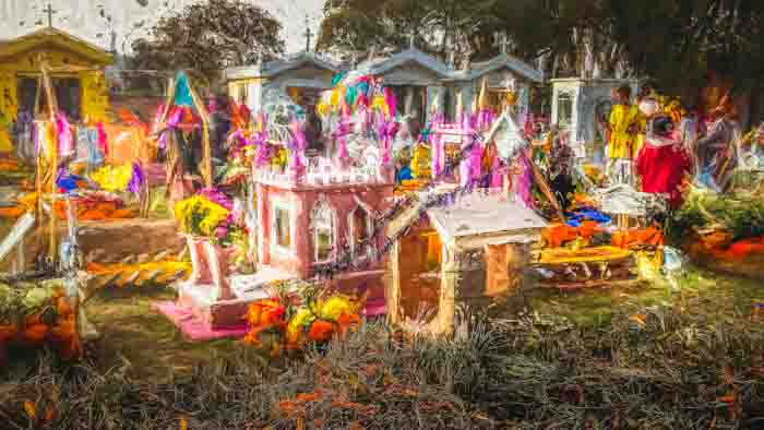 Children's part of the cemetery on the Day of the Dead