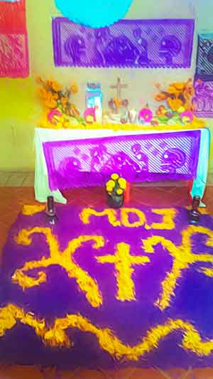 Altar and Ofrenda for the Day of the Dead Traditions inside the church