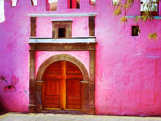 Pink Church in the Mexico City town