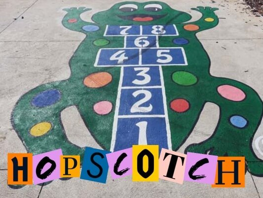 Hopscotch in a local playground