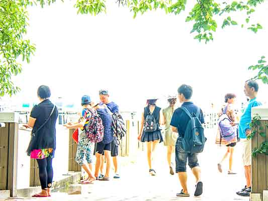 Tourists on the Jetty at Green Island