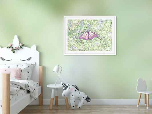 Butterfly Meets the Soul in a kid's room mockup