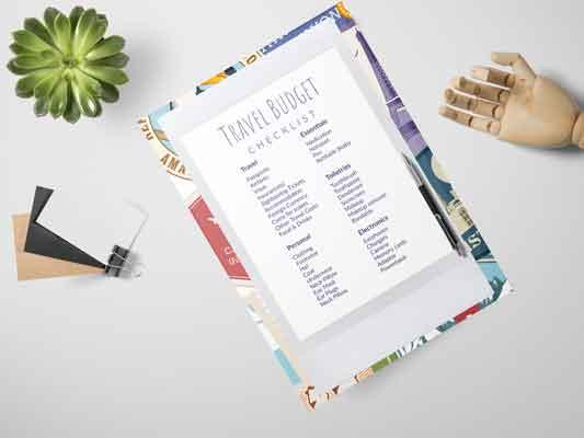 Travel Budget Checklist in a Mockup
